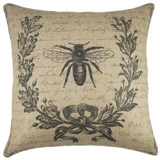 Bee Script Burlap 18-inch Throw Pillow