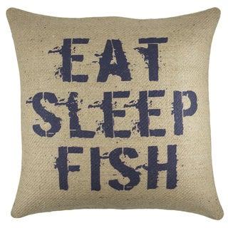 Eat, Sleep, Fish Burlap 18-inch Throw Pillow