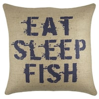 Eat, Sleep, Fish Burlap 18-inch Throw Pillow