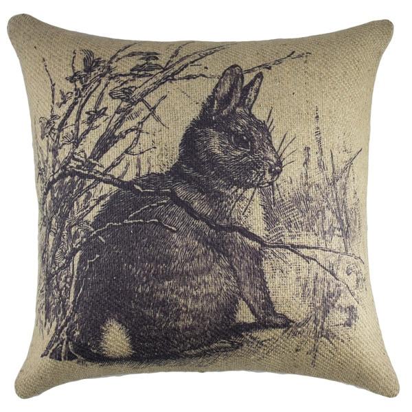 Rabbit-themed Brown Burlap 18-inch Throw Pillow
