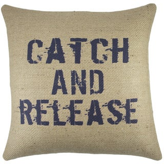 Catch and Release Burlap Throw Pillow 18-inch