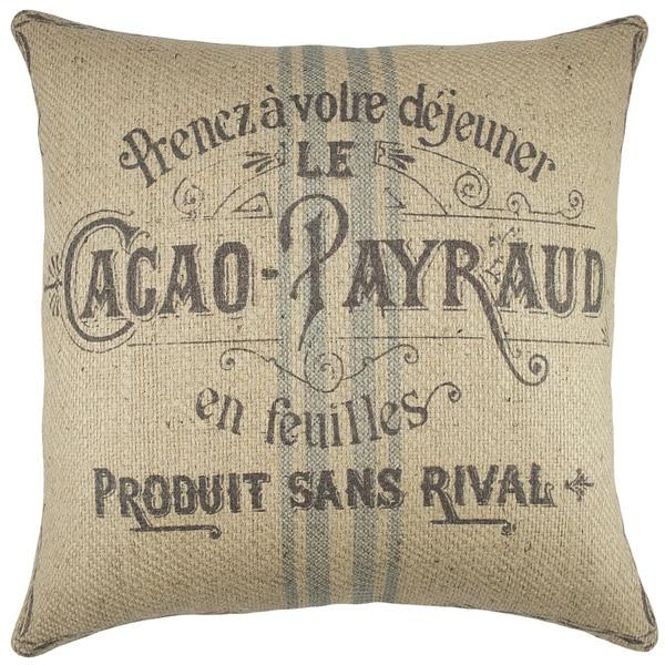 French Grain Sack Burlap 18-inch Throw Pillow