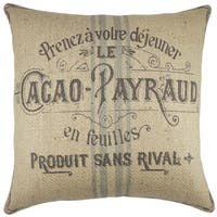 French Grain Sack Burlap 18-inch Throw Pillow