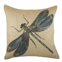 Dragonfly Multicolor Burlap 18-inch Throw Pillow