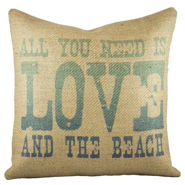 The Watson Shop Love and a Beach Brown Burlap 18-inch Throw Pillow