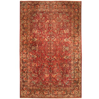 Herat Oriental Persian Hand-knotted 1920s Antique Tribal Sarouk Wool Rug (10' x 15'9)