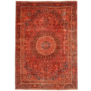 Herat Oriental Persian Hand-knotted 1920s Antique Tribal Mashad Wool Rug (9' x 12'10)