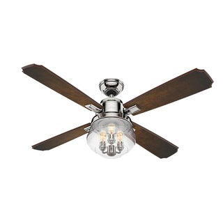 Hunter Sophia Polished Nickel Ombre Cherry Reversible Blades 54-inch Ceiling Fan with Reversible Blades
