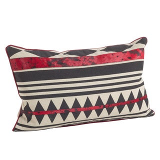 Red & Black Southwestern Design Cowhide Down Filled Pillow