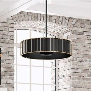 Hunter Fan Vault Matte Black and Modern Brass 30-inch Fan With 3 Rustic Grain and Black Oak Grain Reversible Blades