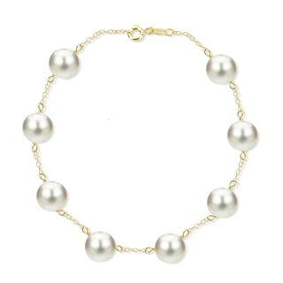 DaVonna 18k Gold-plated Silver 8- to 8.5-millimeter White Freshwater Cultured Pearl 7.5- to 8.5-inch Bracelet