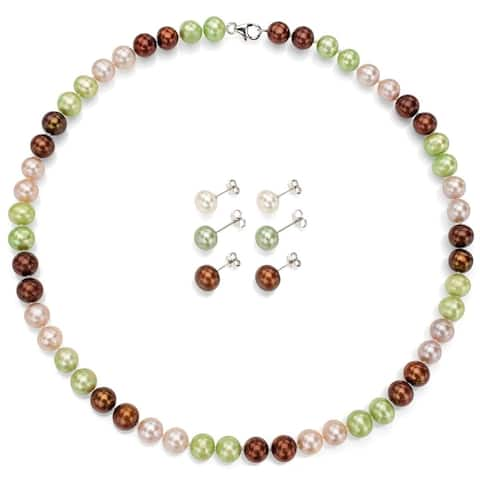DaVonna Sterling Silver 8-9mm multicolor Freshwater Cultured Pearl Necklace and 3-pairs Stud Earrings Set - Multi