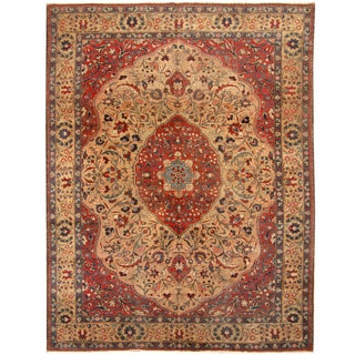 Herat Oriental Persian Hand-knotted 1920s Antique Tribal Tabriz Wool Rug (9'1 x 12'2)