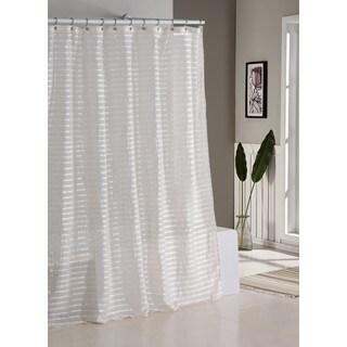 Tabitha Satin/ Linen Stripe Shower Curtain