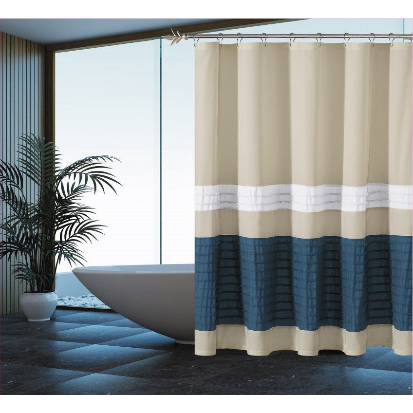 Duck River Portico Pleated Shower Curtain (Beige-Slate Bl...
