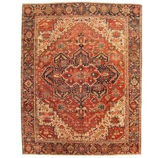 Herat Oriental Persian Hand-knotted 1910s Antique Tribal Heriz Wool Rug (9'1 x 12')