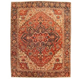Herat Oriental Persian Hand-knotted 1910s Antique Tribal Heriz Wool Rug (9'1 x 12')