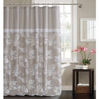 CLARA POLYCOTTON SHOWER CURTAIN W/ THREE LINES LACE BORDER