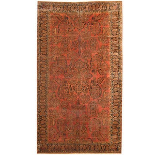 Herat Oriental Persian Hand-knotted 1920s Antique Tribal Sarouk Wool Rug (9'3 x 16'8)