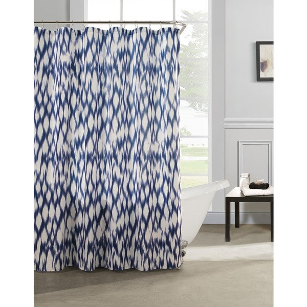 Shop Caitlin Cotton-satin Look Fabric with Quilting Shower Curtain ...