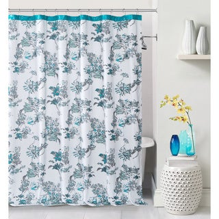 Alice Polycotton Fake Leather Border Shower Curtain