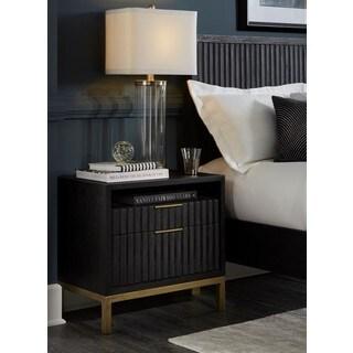 Kentfield Transparent Black Mahogany 2-drawer Shelf Nightstand