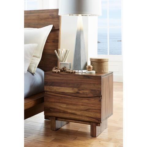 Ocean Natural Sengon 2-drawer Solid Wood Nightstand