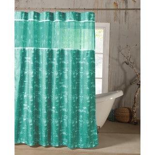 Ella Satin Look Microfiber Shower Curtain with Sheer Border