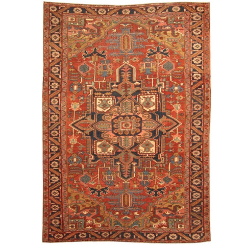 Handmade Herat Oriental Persian 1900s Antique Tribal Heriz Wool Rug - 8'2 x 12'2 (Iran)