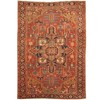 Herat Oriental Persian Hand-knotted 1900s Antique Tribal Heriz Wool Rug (8'2 x 12'2)