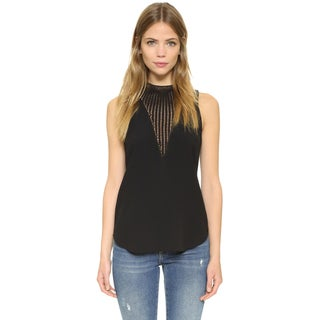 A.L.C. Women's Alec Black Crochet Crepe Top