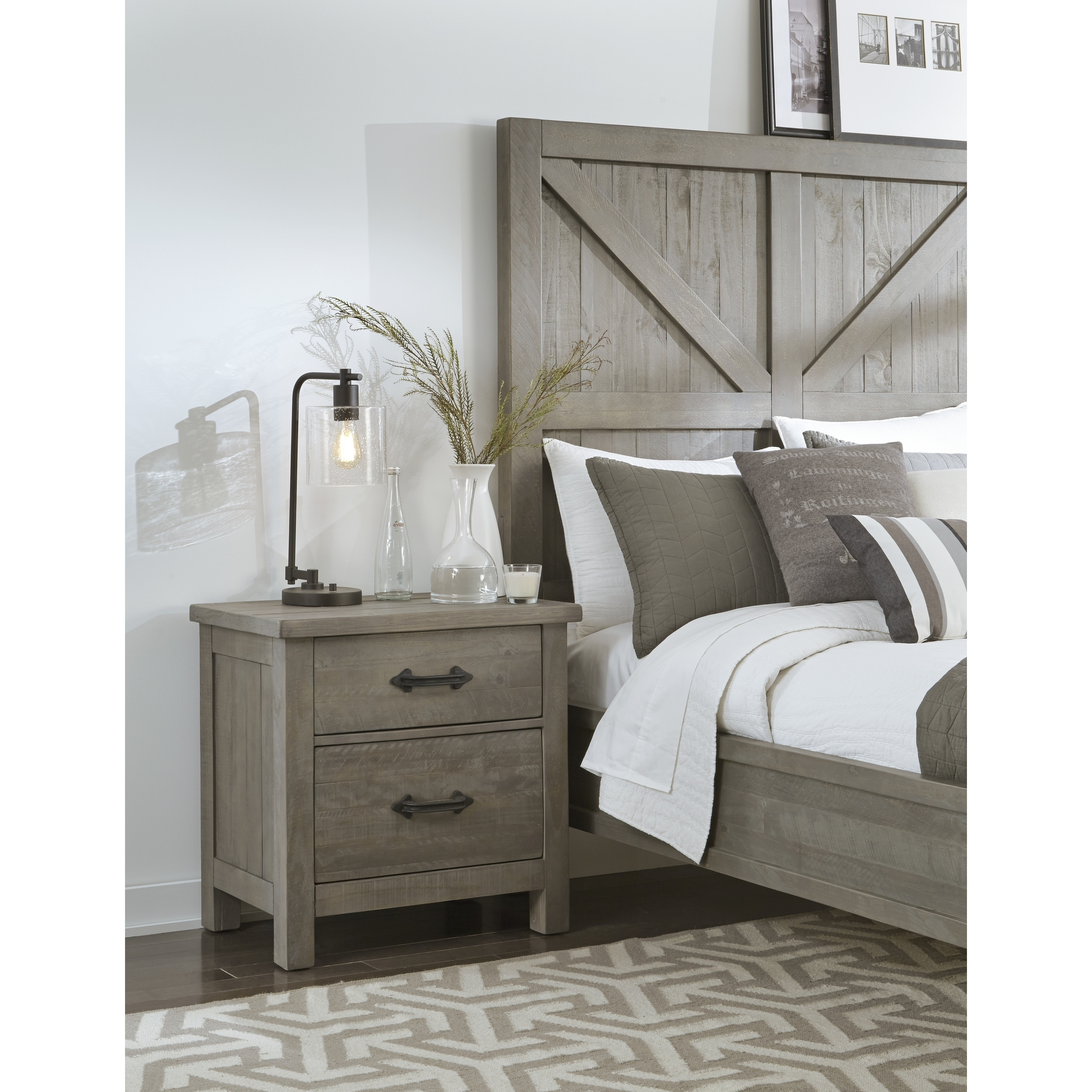 Austin Rustic Gray 2 Drawer Solid Wood Nightstand Overstock 14505077