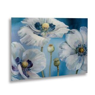 Lisa Audit 'Blue Dance I' Floating Brushed Aluminum Art