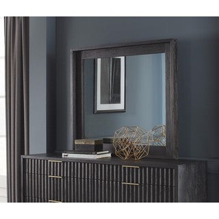 Kentfield Transparent Black Mahogany Beveled Glass Mirror