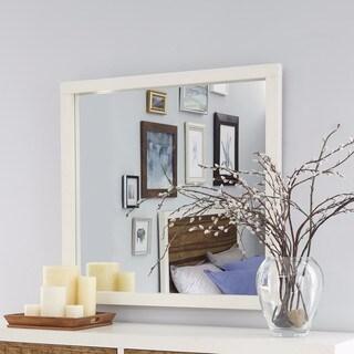 Montana White Lacquer / Natural Sengon Beveled Glass Mirror