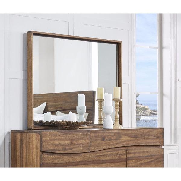 Ocean Natural Sengon Solid Wood Floating Glass Mirror - Brown - A/N
