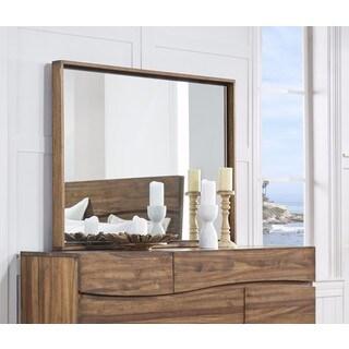 Ocean Natural Sengon Solid Wood Floating Glass Mirror