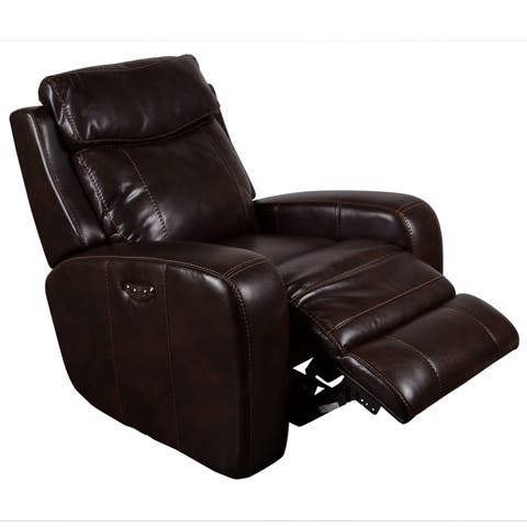 Porter Austin Chocolate Brown Faux Leather Power Recliner with Power Adjustable Headrests