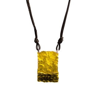 Leather Cord Enameled Pendant Necklace (Option: Mustard Yellow)