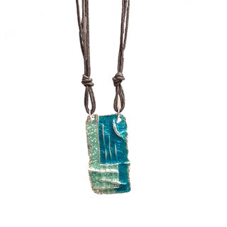 Leather Cord Enameled Pendant Necklace