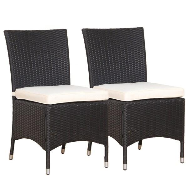 BroyerK Black and Cream Polyethylene Rattan Outdoor Dining Chairs (Set of 2) - Shop BroyerK Black And Cream Polyethylene Rattan Outdoor Dining