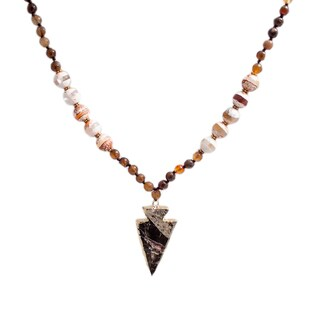 Handmade Tigers Eye Arrowhead 32-inch Pendant Necklace