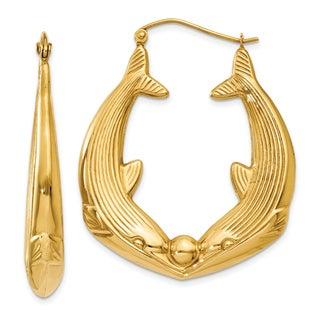 14 Karat Yellow Gold Polished Dolphin Hoop Earrings