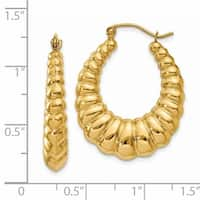 Versil 14 Karat Yellow Gold Polished Scalloped Hoop Earrings