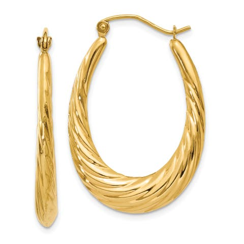 14K Yellow Gold Polished Twisted Oval Hollow Hoop Earrings by Versil