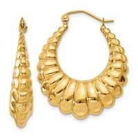 14 Karat Yellow Gold Polished Scalloped Hollow Hoop Earrings