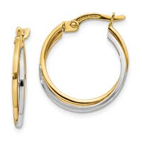 Versil 14 Karat Two-tone Gold Polished Hollow Hoop Earrings