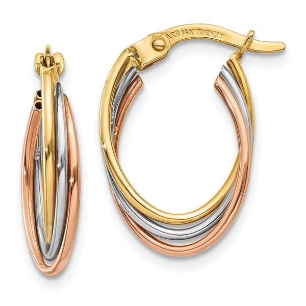 14 Karat Tri Color Gold Twisted Hoop Earrings
