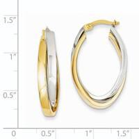 14 Karat Two-tone Gold Oval Hoop Earrings