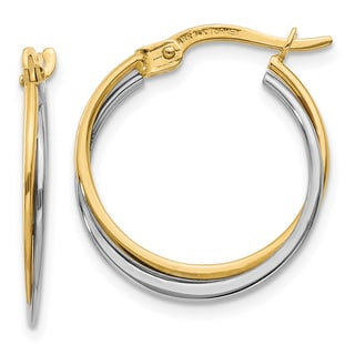 14 Karat Two-tone Gold Polished Hoop Earrings